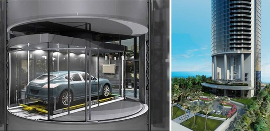 Rendering of car elevator and the tower base. (Porsche Design Group)