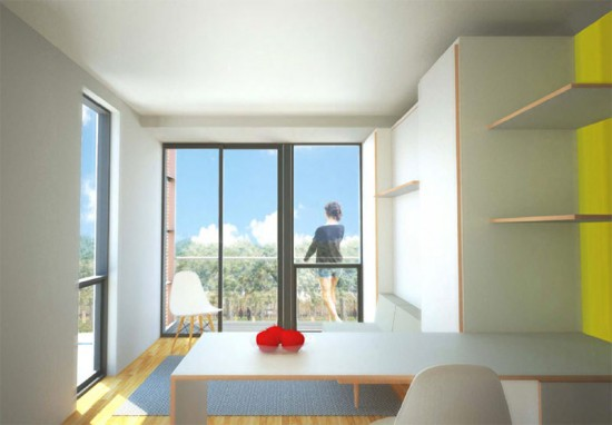 Rendering of the interior of one of the prefab disaster housing units. (Courtesy Garrison Architects)