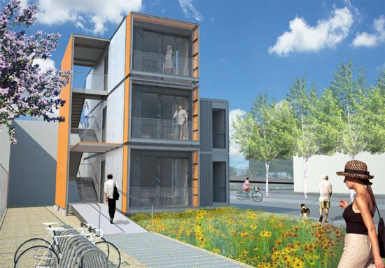 Rendering of the three-unit prefab disaster housing planned for Brooklyn. (Courtesy Garrison Architects)