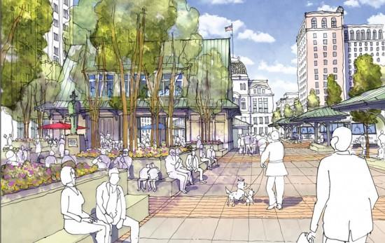 Proposed changed to Kennedy Plaza. (Courtesy Union Studio Architecture & Community Design)
