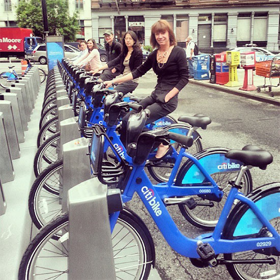 NYC Transportation Commissioner Janette Sadik-Khan tries out the Citi Bike bike share system. (Courtesy NYC DOT)