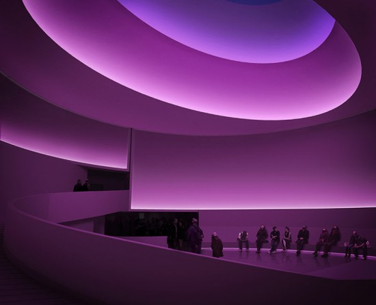 James Turrell Rendering for Aten Reign, 2013 Daylight and LED light Site-specific installation, Solomon R. Guggenheim Museum, New York  © James Turrell Rendering: Andreas Tjeldflaat, 2012 © SRGF