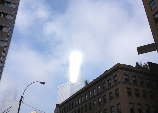 One World Trade Center appears to glow in the sunlight. (William Menking / AN)