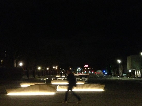 The benches are edge lit with LEDs. (Kristy Prince)