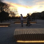 The wooden slat benches aim to increase the function and user comfort of the public space. (courtesy Stoss Landscape Urbanism)