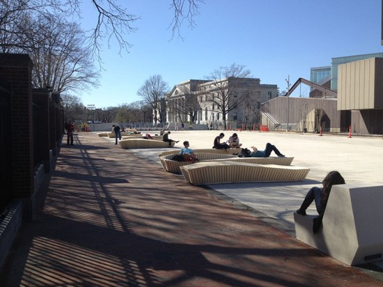 The benches are bolted down, but can be reconfigured to meet programming needs. (courtesy Stoss Landscape Urbanism)