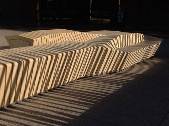Stoss Landscape Urbanism designed 17 unique, wooden benches for a new plaza at Harvard University. (courtesy Stoss Landscape Urbanism)