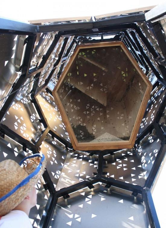 Looking up, inside Elevator B (Hive City Design Team)