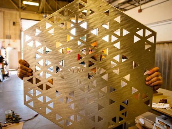 Rigidized Metals fabricated Elevator B's panels from 18-gauge metal. (Doug Levere/University at Buffalo)