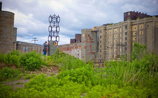 The Elevator B site is located in Buffalo's First Ward, amidst abandoned grain silos. (Doug Levere/University at Buffalo)