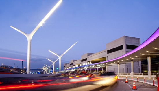 AECOM's LAX enhancements, including new canopies, light poles, and LED lighting. (AECOM)