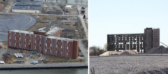 Building 877 before (left) and after (right) demolition preparation. (Courtesy Trust for Governors Island)