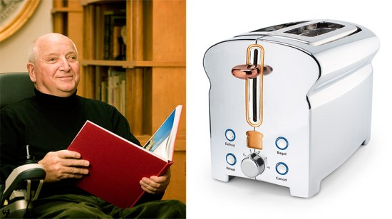 Michael Graves (left) and the toaster he designed for J.C. Penney (right).