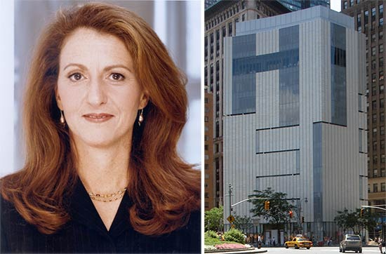Holly Hotchner (left) and the MAD building in Columbus Circle (right). (Courtesy MAD; Wikipedia)