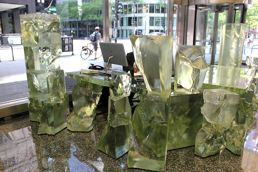 Frank Gehry's new sculpture in the Inland Steel Building lobby. (Lynn Becker)