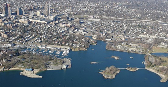 Aerial view of New Rochelle. (Courtesy Waterfront Gateway Design Competition)