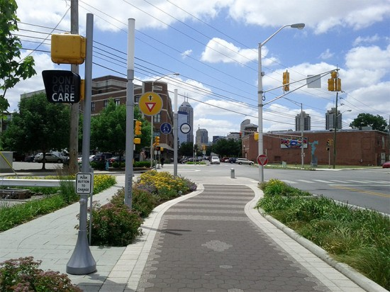 Cycle lanes and landscaping in Indianapolis. (Eric Fischer / Flickr)