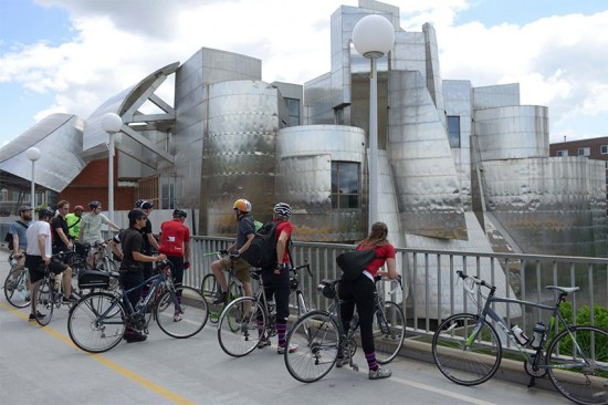 Cyclists and Frank Gehry. (Grant Smith)