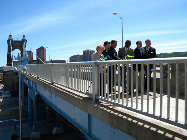 The Roebling Bridge Pedestrian Connector  was reopened June 4. (Building-Cincinnati.com)