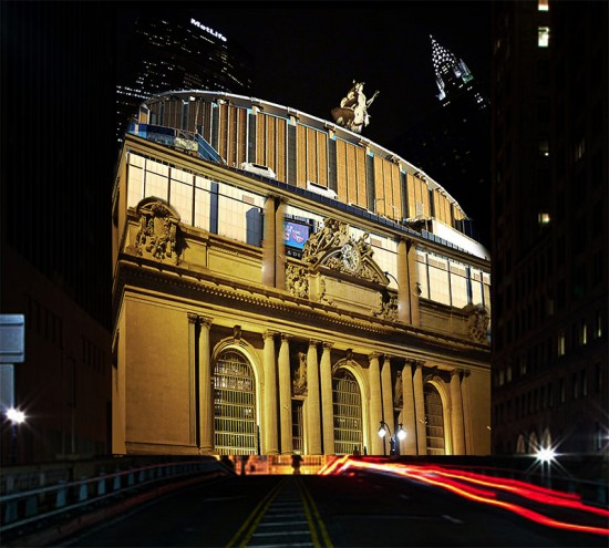 Sorkin's proposal to place Madison Square Garden atop Grand Central Terminal.