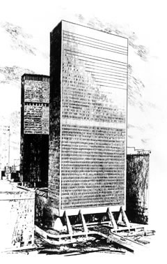 Marcel Breuer's plan for a tower at Grand Central Terminal.