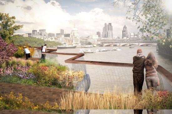 Rendering of Hearthwick Studio's design of the new Garden Bridge. Photo Courtesy of Design Boom.