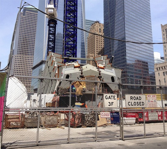 Construction at Calatrava's World Trade Center Transit Hub. (The Architect's Newspaper)