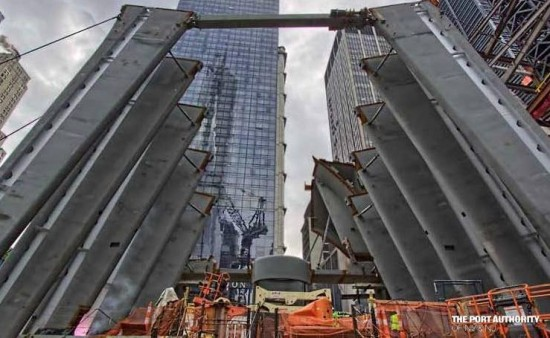 Construction at Calatrava's World Trade Center Transit Hub. (Courtesy Port Authority)