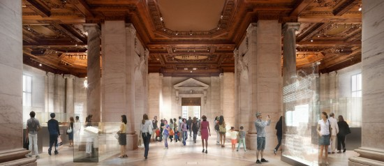 Rendering of Gottesman Exhibition Hall, New York Public Library (DBOX for Foster + Partners)