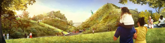 Renderings of The Hills on Governors Island (Courtesy of the Mayor's Office)