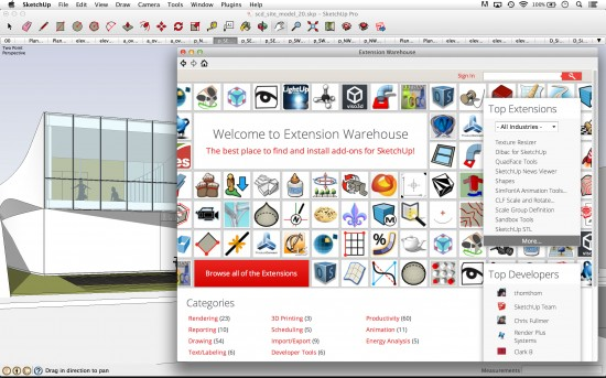 One feature of SketchUp Pro 2013 the Extension Warehouse where all user-scripted plugins can be found. (courtesy Trimble Navigation Ltd.)