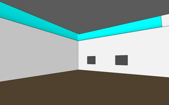 An early design used mirrored reflector scoops under skylights at the edges of the gallery ceiling in this SketchUp file sent to Arup. (courtesy Allied Works)