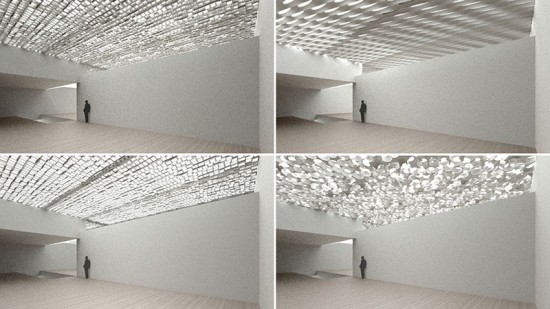 Various design iterations for the perforated concrete ceiling at Denver's Clyfford Still Museum were modeled in SketchUp and Rendered in Maxwell Render. (courtesy Allied Works)