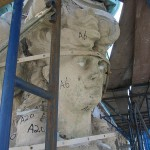 The angel was numbered as parts of the whole on site. (courtesy Boston Valley Terra Cotta)