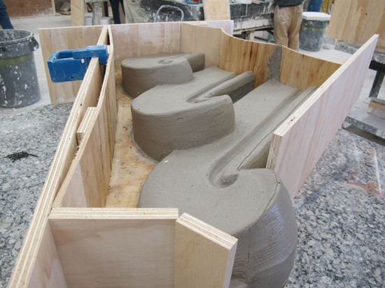 A plywood frame supports the wet terra cotta clay. (Mitchell Bring/Boston Valley Terra Cotta)