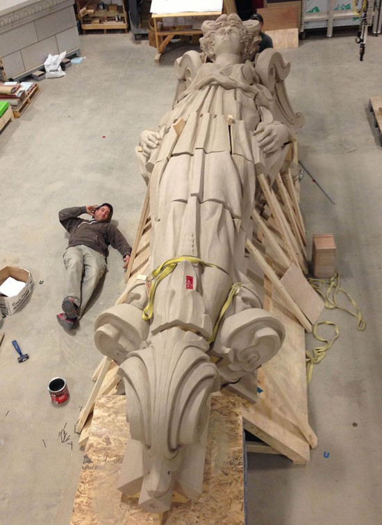 The final product measures 20 feet in height. (Mitchell Bring/Boston Valley Terra Cotta)