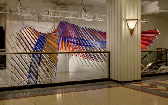 Sixty-eight slats display 136 of Wolf-Gordon's wallcoverings, textiles, and upholsteries. (James Shanks)