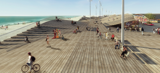 Seeding Office's rendering of Rockaways' new boardwalk (Courtesy of Seeding Office)
