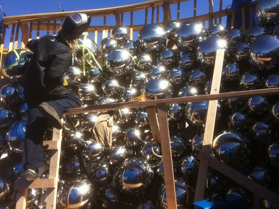 The spheres were welded together at Ball-Nogues's L.A. studio. (Benjamin Ball)
