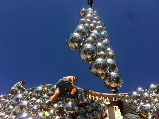 The sphere were welded into 27 parts, or panels, for shipment to Canada. (Benjamin Ball)
