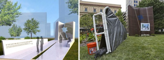 Rendering of Libeskind's memorial design and the mock memorial. (Courtesy Studio Daniel Libeskind; Alex Holt / Columbus Dispatch)