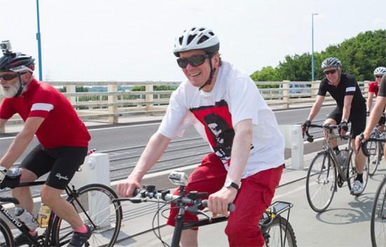 George Ferguson PPRIBA, Mayor of Bristol rides with us over the Severn Bridge. (Courtesy P2P)