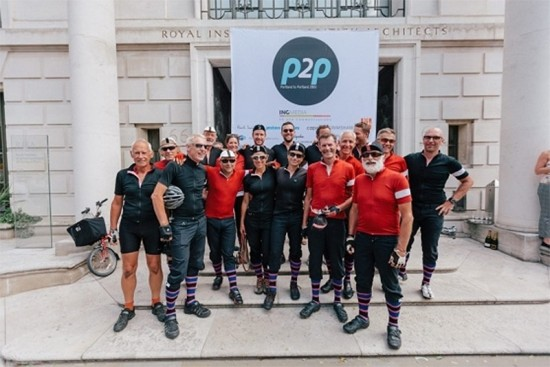 The core P2P riders outside the Royal Institute of British Architects. (Richard Hanmer)