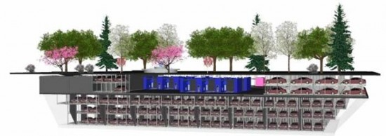 Section through Willoughby Square Park showing underground parking. (Courtesy Automotion Parking)