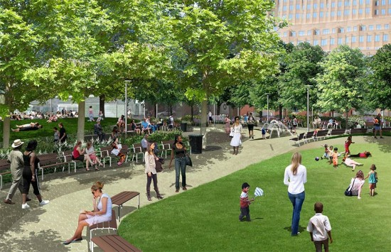 Rendering of Brooklyn's Willoughby Square Park. (Courtesy Hargreaves / NYCEDC)