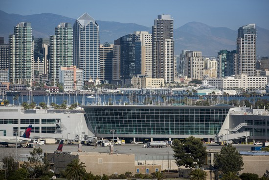 View of Terminal 2 expansion, with Downtown San Diego in background (San Diego International Airport)