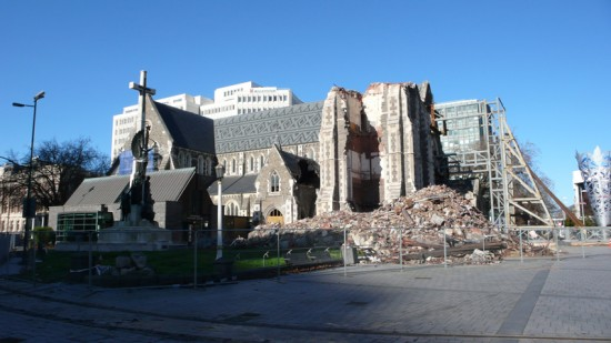 Cathedral Collapsed by Shock of the Earthquake (Courtesy Shigeru Ban Architects)