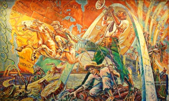 Gateway to Manifest Destiny, by East Los Angeles Streetscapers (Mural Conservancy of Los Angeles)