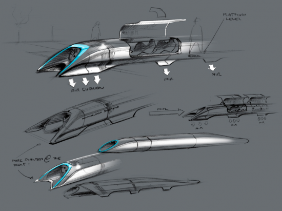 Sketches of Hyperloop Alpha's mobile pods (Tesla Motors)