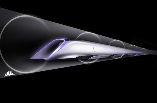 Rendering of Hyperloop passenger transit capsule (Tesla Motors)